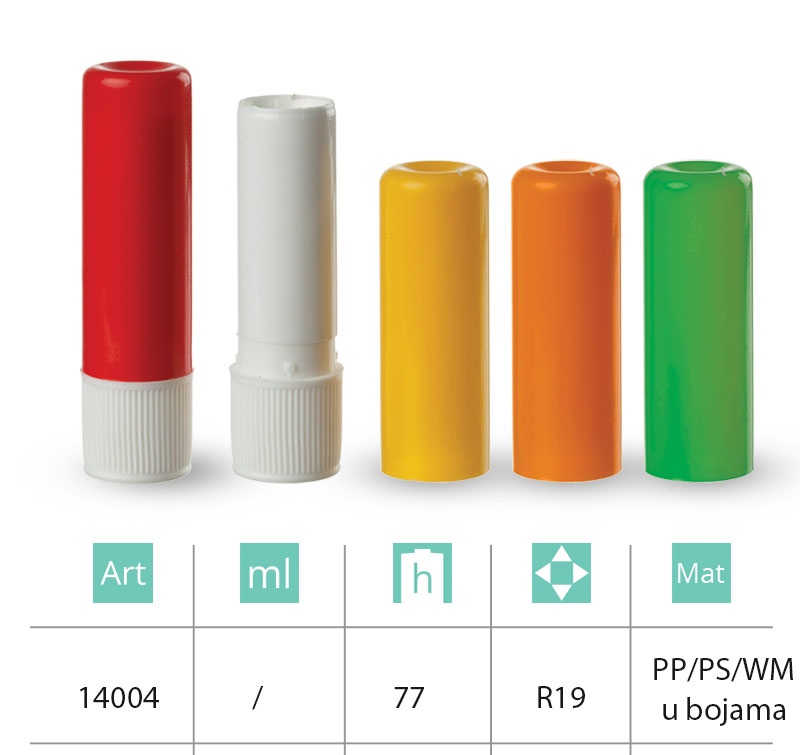 Plastic containers for sticks and inhalers